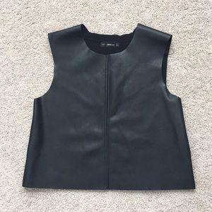 Zara faux leather crop top sz sm